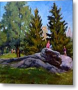 On The Rocks In Central Park Metal Print