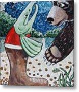 Once Bear And Salmon_part 1 Metal Print