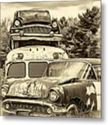 Once Shiny Dreams - Sepia Metal Print