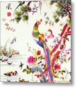 One Hundred Birds With A Phoenix, Canton, Republic Period Metal Print