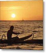 One Man Canoe Metal Print