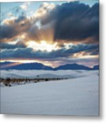 One More Moment - Sunburst Over White Sands New Mexico Metal Print