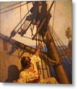 One More Step Mr. Hands - N.c. Wyeth Painting Metal Print