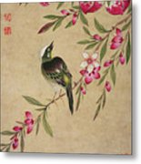 One Of A Series Of Paintings Of Birds And Fruit, Late 19th Century Metal Print
