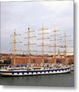 One Of Star Clipper's Masted Cruise Liners Docked In Venice Italy Metal Print