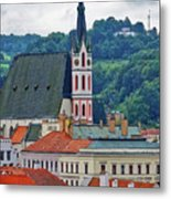 One Of The Churches In Cesky Kumlov In The Czech Republic Metal Print