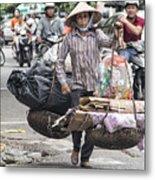 One Woman Street Life Hanoi Metal Print
