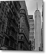 One World Trade Center New York Ny From Nassau Street Black And White Metal Print