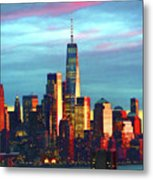 One World Trade Sunset Spectacle Metal Print