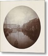Oostersingel With Aangemeerde Ships In Leeuwarden, Anonymous, 1897 Metal Print