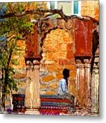 Open Air Bed Among The Arches India Rajasthan 1a Metal Print