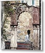 Open Air Bed Among The Arches India Rajasthan 1c Metal Print