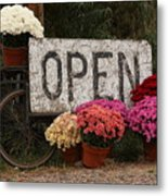 Open Sign With Flowers Fine Art Photo Metal Print