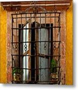 Open Window In Ochre Metal Print