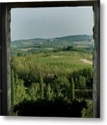 Open Window Looking Out On The Tuscan Metal Print