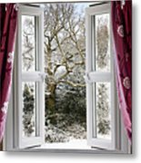 Open Window With Winter Scene Metal Print