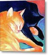Orange And Black Tabby Cats Sleeping Metal Print