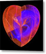 Orange And Blue Fractal Heart Metal Print