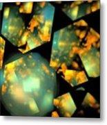 Orange Aqua Honeycomb Metal Print