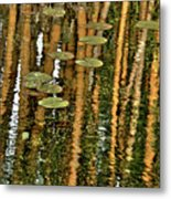 Orange Bamboo Abstract, Reflection On Water Metal Print