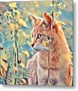 Orange Cat In Field Of Yellow Flowers Metal Print