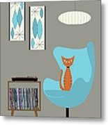 Orange Cat In Turquoise Egg Chair Metal Print