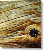 Orange Colored Old Wooden Board Metal Print