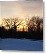 Orange Dawn Sky Behind Trees Metal Print