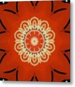 Orange Desert Flower Kaleidoscope Metal Print