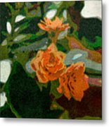 Orange Flower Abstract Metal Print