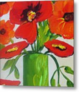 Orange Flowers In Lime Green Vase Metal Print