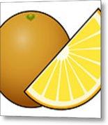 Orange Fruit Outlined Metal Print