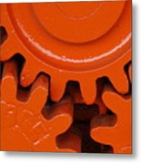Orange Gear 2 Metal Print