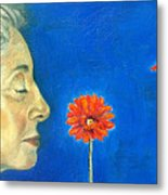 Orange Gerbera On Cobalt Metal Print