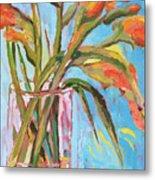 Orange Gladiolus In Vase Metal Print