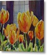Orange Glow Tulips Metal Print