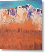 Orange Grass Metal Print
