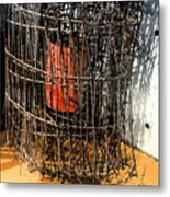 Orange In Wire Metal Print