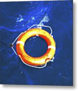 Orange Life Buoy In Blue Water Metal Print