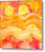 Orange Moons Metal Print