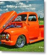 Orange Pick Up At The Car Show Metal Print