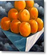 Orange Pyramid In Space Metal Print