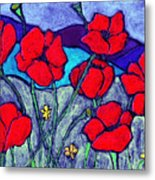 Orange  Red Poppies Metal Print