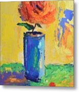 Orange Rose With Yellow Background Metal Print