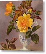 Orange Roses In A Blue And White Jug Metal Print