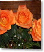 Orange Roses With Babysbreath Metal Print