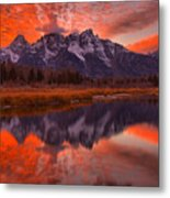 Orange Skies Over The Tetons Metal Print