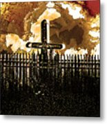 Orange Sky Cross Metal Print