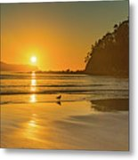 Orange Sunrise Seascape And Beach Metal Print