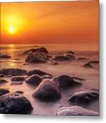 Orange Sunset Long Exposure Over Sea And Rocks Metal Print
